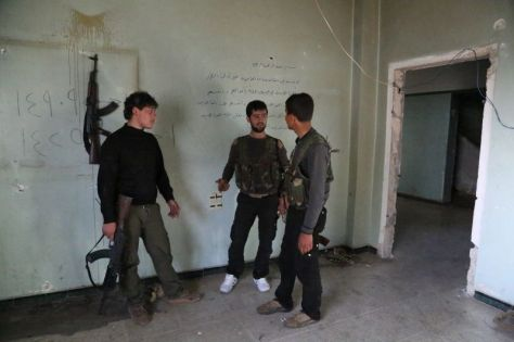 Three Fighters at Jabhat al-Akrad Headquarters
